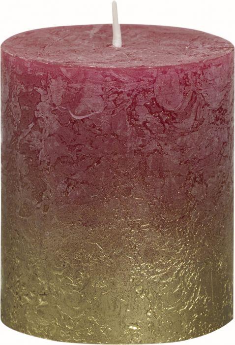 Pöytäkynttilä 8 x 6,8 cm liukuvärjätty kulta-viininpunainen