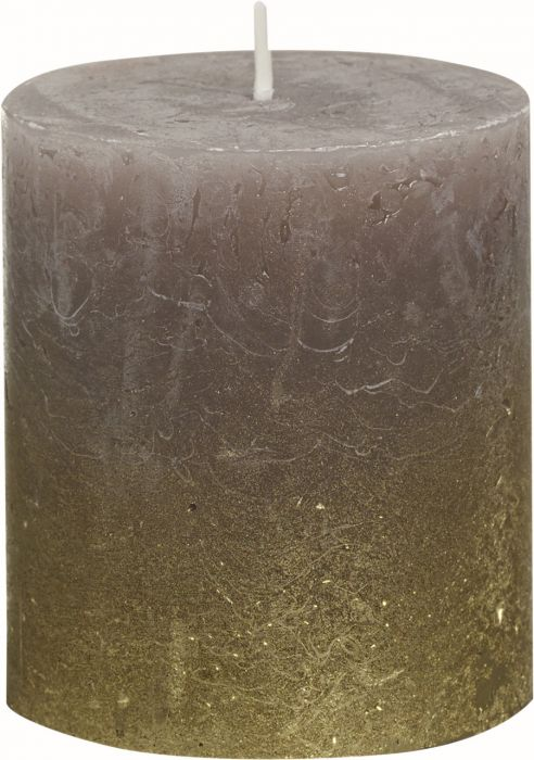 Pöytäkynttilä 8 x 6,8 cm liukuvärjätty kulta-taupe