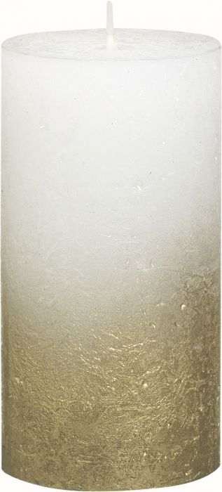 Pöytäkynttilä 13 x 6,8 cm liukuvärjätty kulta-valkoinen