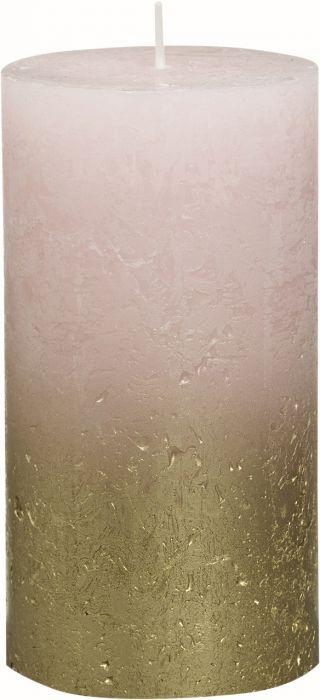 Pöytäkynttilä 13 x 6,8 cm liukuvärjätty kulta-pastellipinkki