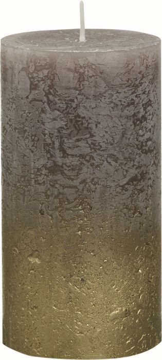 Pöytäkynttilä 13 x 6,8 cm liukuvärjätty kulta-taupe