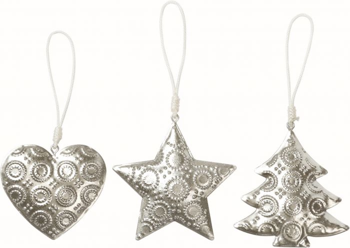 Joulukuusenkoriste 9 cm hopea