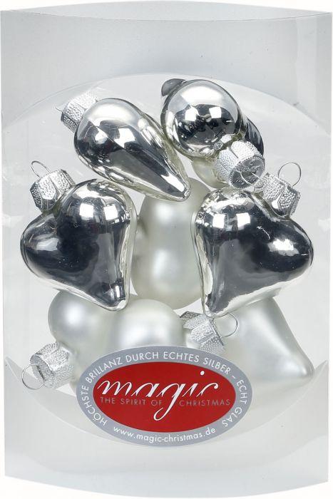 Joulukuusenkoriste sydän 4 cm 8 kpl hopea-valkoinen