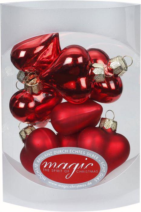 Joulukuusenkoriste sydän 4 cm 8 kpl punainen