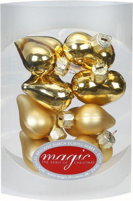 Joulukuusenkoriste sydän 4 cm 8 kpl kulta