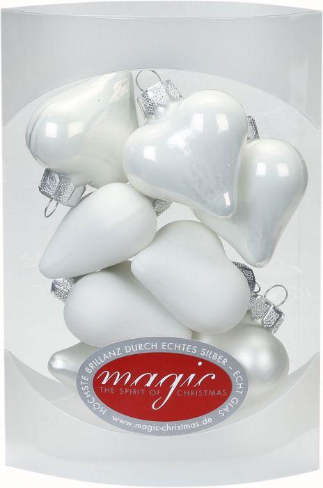Joulukuusenkoriste sydän 4 cm 8 kpl valkoinen