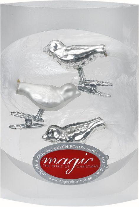 Joulukuusenkoriste lintu 4,5 cm 3 kpl hopea-valkoinen