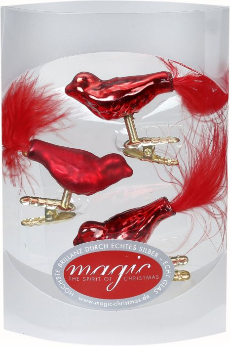 Joulukoriste lintu 4,5 cm 3 kpl punainen