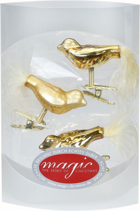 Joulukuusenkoriste lintu 4,5 cm 3 kpl kulta