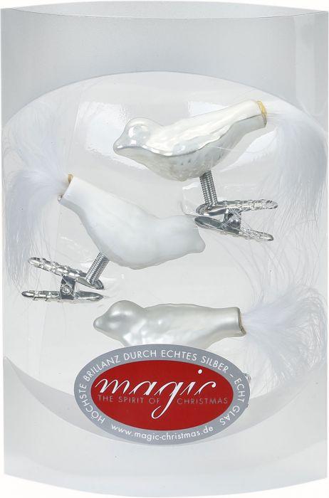 Joulukuusenkoriste lintu 4,5 cm 3 kpl valkoinen