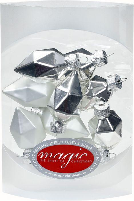 Joulukuusenkoriste timantti 4,5 cm 10 kpl hopea-valkoinen