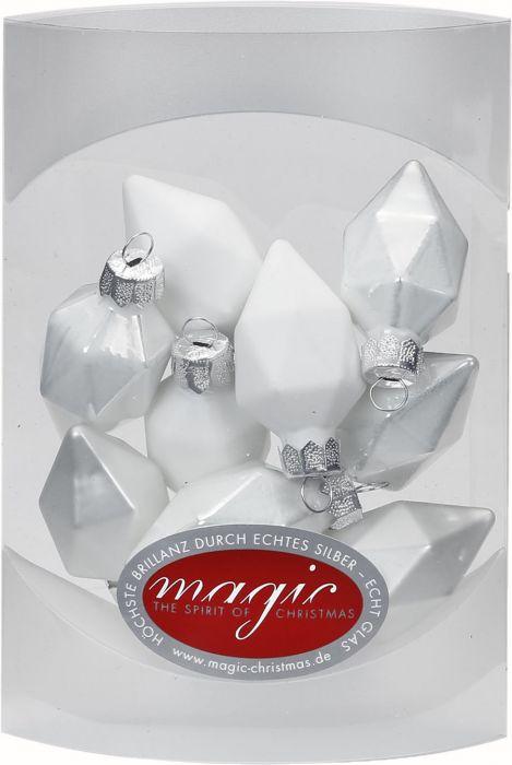 Joulukuusenkoriste timantti 4,5 cm 10 kpl valkoinen