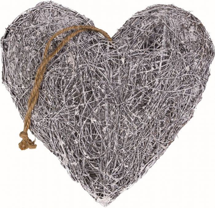 Joulukoriste sydän harmaa 25 cm