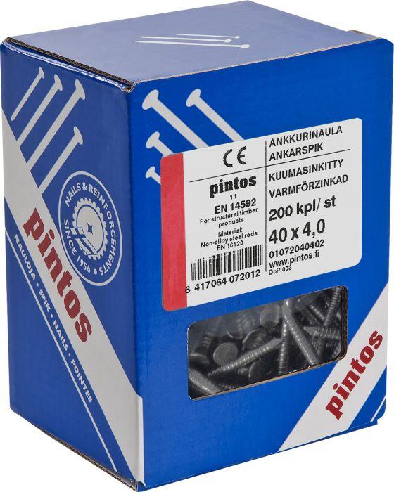 Ankkurinaula Pintos Kuumasinkitty 4 x 40 mm