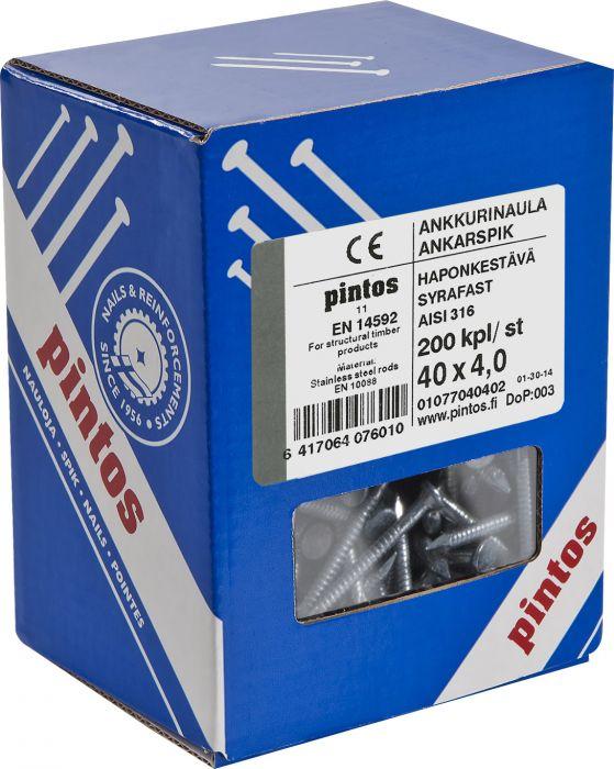 Ankkurinaula Pintos 4 x 40 mm AISI316