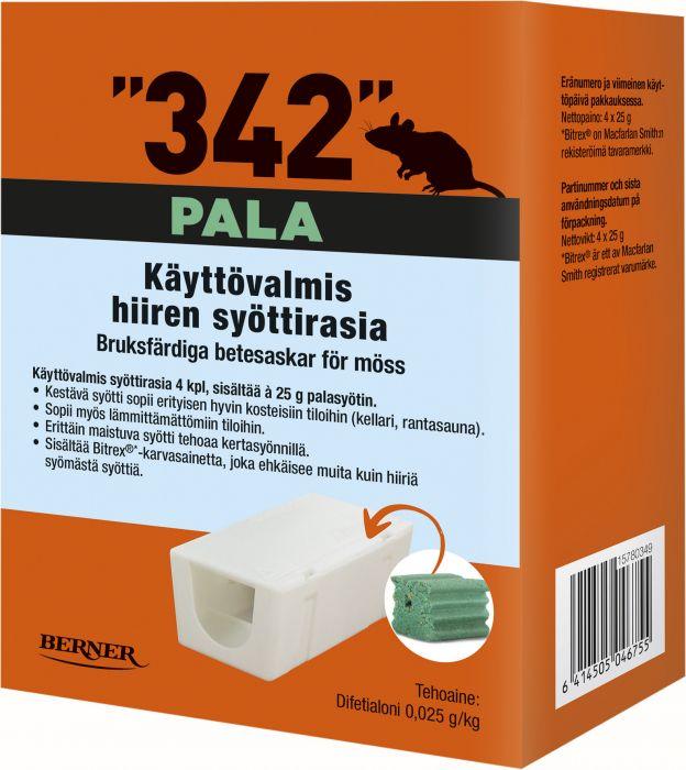 Hiirentorjunta syöttirasia 342 palasyötti 4 x 25 g