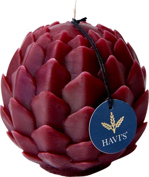 Pöytäkynttilä Havi's Artisokka 9 x 10,5 cm viininpunainen