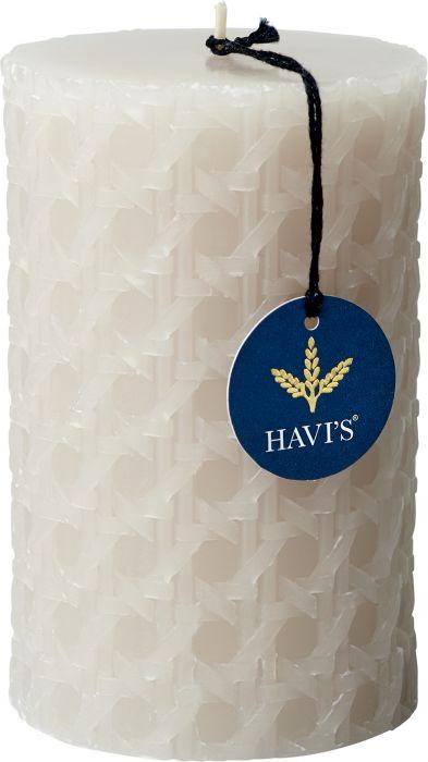 Pöytäkynttilä Havi's Rattan 8 x 12,5 cm hiekka