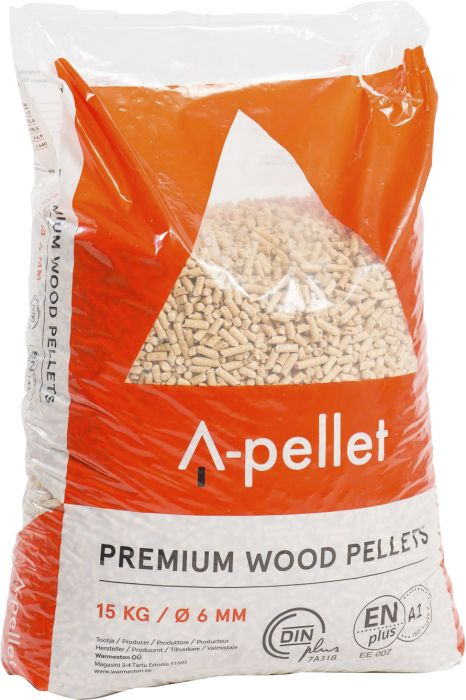 Setti 5 kpl Puupelletti A-Pellet 6 mm 15 kg