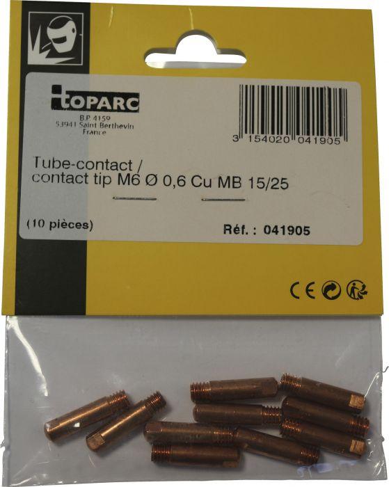 Kosketusputki Toparc M6 0,6 mm 150 A 10 kpl