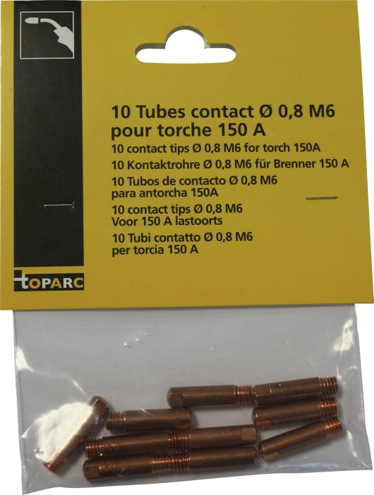 Kosketusputki Toparc 0,8 mm M6 150 A 10 kpl