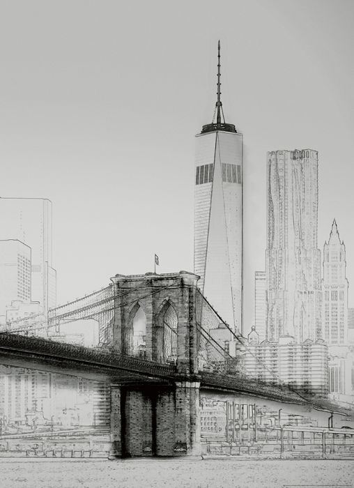 Fototapetti New york Art Illustration B&W 2 paneelia
