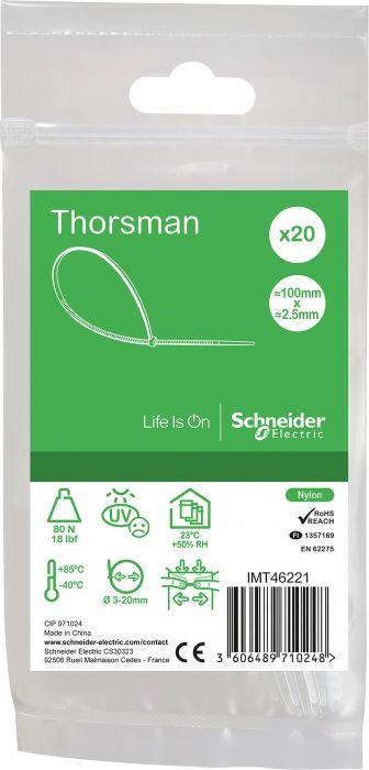Nippuside Schneider Thorsman 100 x 2,5 mm 20 kpl Kirkas