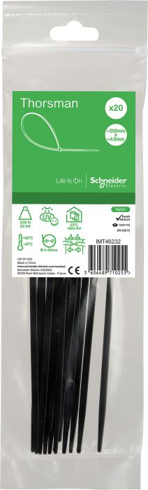 Nippuside Schneider Thorsman 200 x 4,6 mm 20 kpl Musta