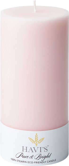 Pöytäkynttilä Havi's Pure&Bright 7 x 15 cm roosa