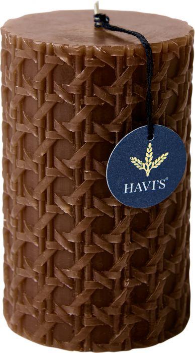 Pöytäkynttilä Havi's Rattan 8 x 12,5 cm toffee