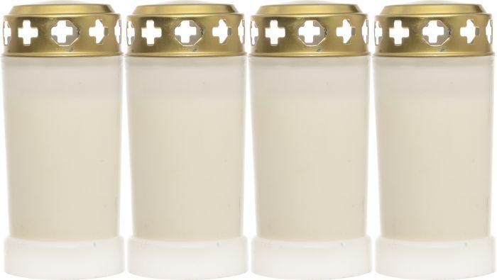Hautakynttilä 60 h 4 kpl valkoinen