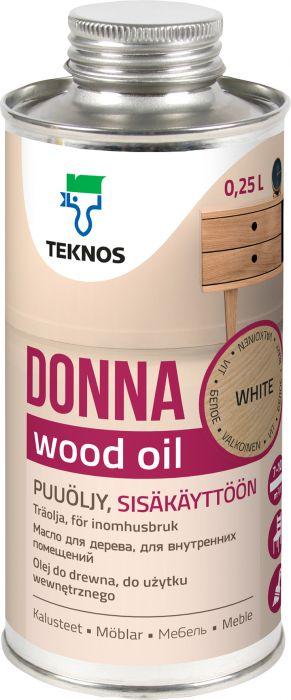 Puuöljy Teknos Donna Valkoinen 0,25 l