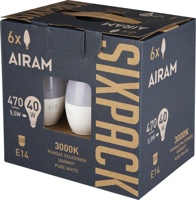 Kynttilälamppu Airam LED 6-pack E14