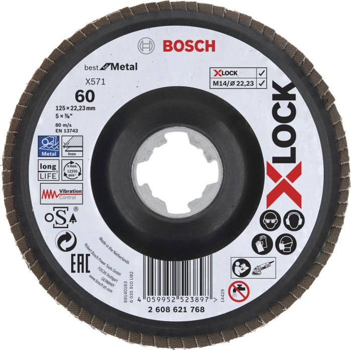Tasoliuskalaikka Bosch X-LOCK Best for Metal 125 mm K60