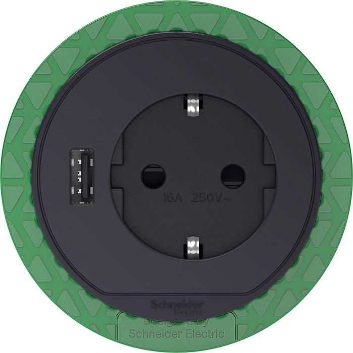 Pöytäpistorasia+USB Schneider Unica System+ Antrasiitti