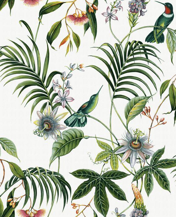 Kuitutapetti Prestige Vihreät kasvit valkoinen pohja