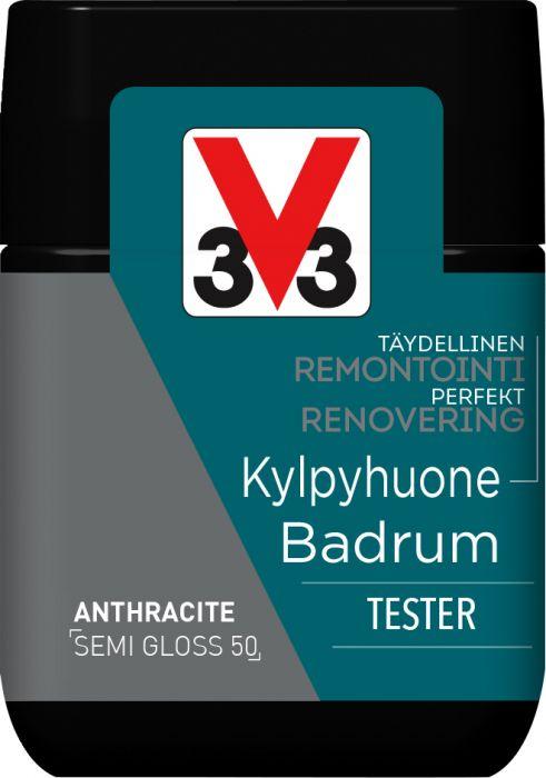 Kaakelimaali Seinille V33 Antrasiitti 75 ml Testeri