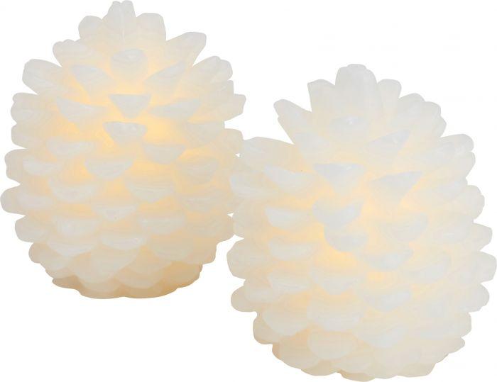 LED-kynttilä Sirius Clara käpy 10 cm 2 kpl valkoinen