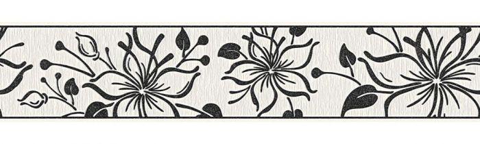 Boordi A.S. Creation Itseliimautuva Musta-valkoinen Kukka