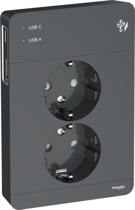 Pistorasia Schneider Exxact 2 -osainen 2x USB A+C Antrasiitti