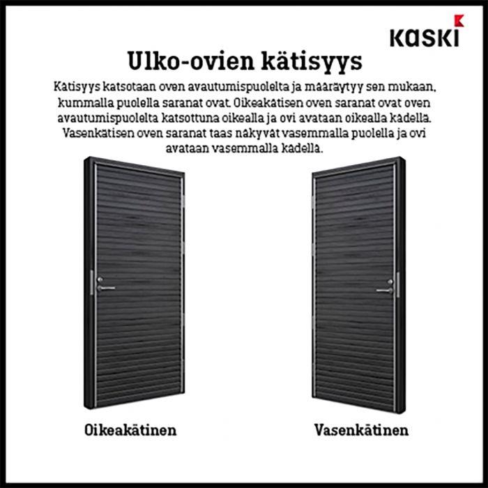 Ulko-ovi Kaski Puudesign Kero Pähkinä 9 x 21 Oikea