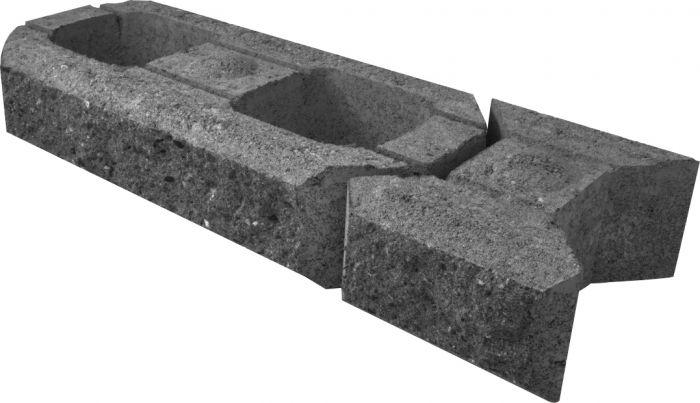 Lohkomuurikivi Lakka Musta 480 + 80 x 200 x 100 mm