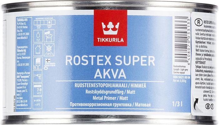 Ruosteenestopohjamaali Tikkurila Rostex Super Akva Vaaleanharmaa