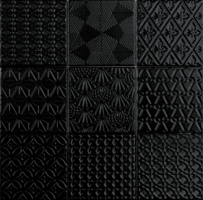 Seinä-/lattialaatta Spirit Musta 9,8 x 9,8 cm