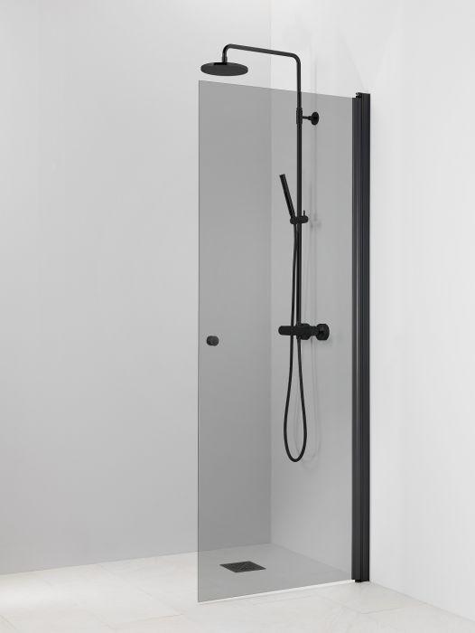 Kääntyvä suihkuseinä Vihtan Pisara 3 musta Harmaa lasi