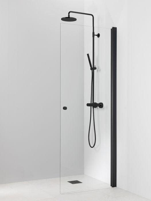 Kääntyvä suihkuseinä Vihtan Pisara 3 musta kirkas lasi