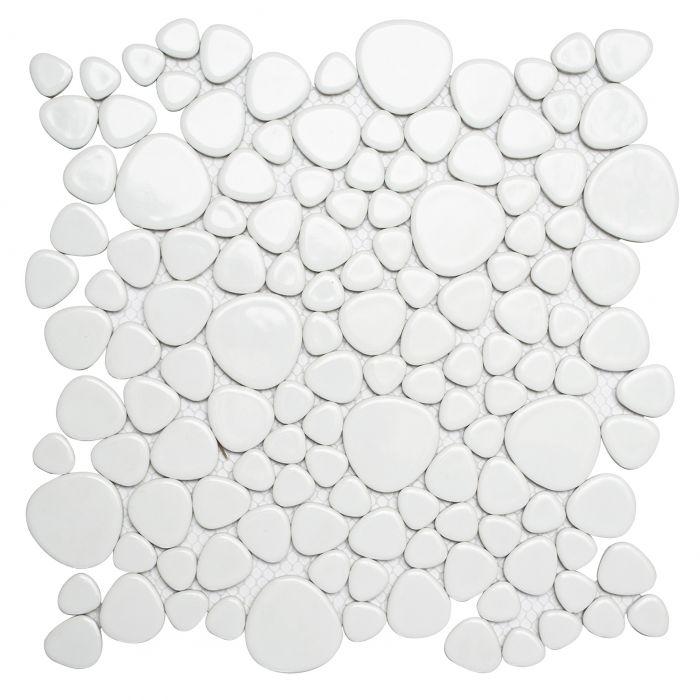 Mosaiikki Pebble Stone Valkoinen